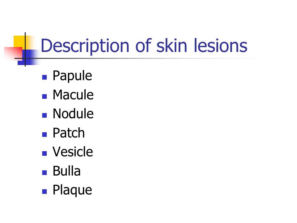 Description of skin lesions