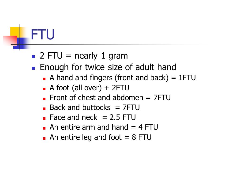 FTU 2 FTU = nearly 1 gram Enough for twice size of adult hand