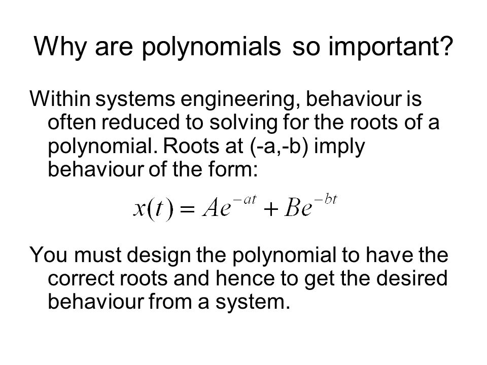 Why are polynomials so important