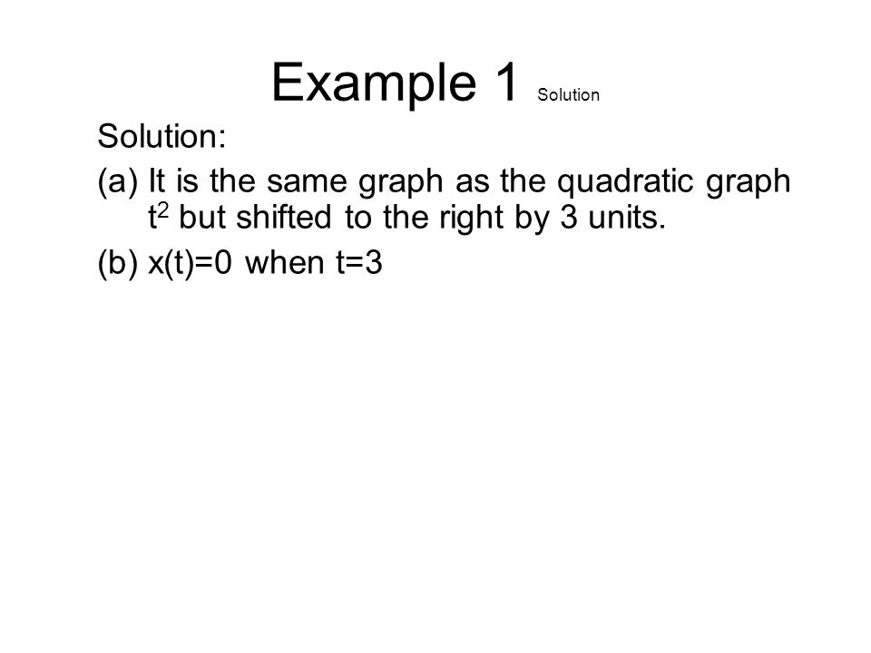 Example 1 Solution Solution: