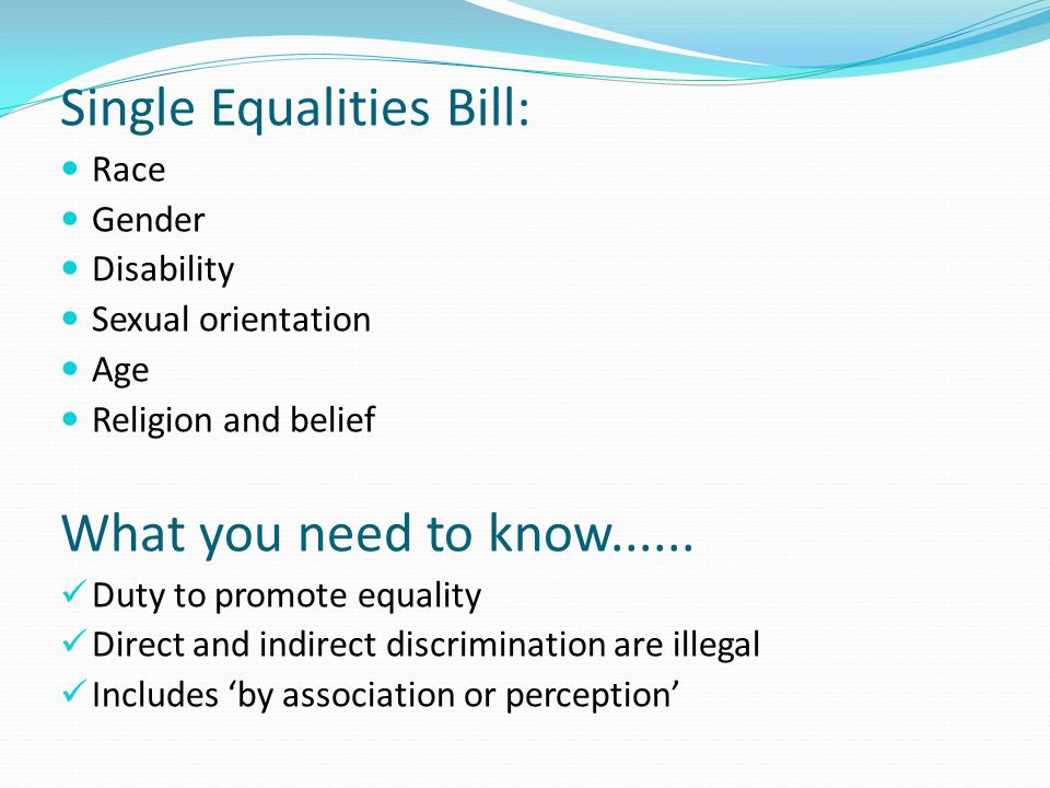 Single Equalities Bill:
