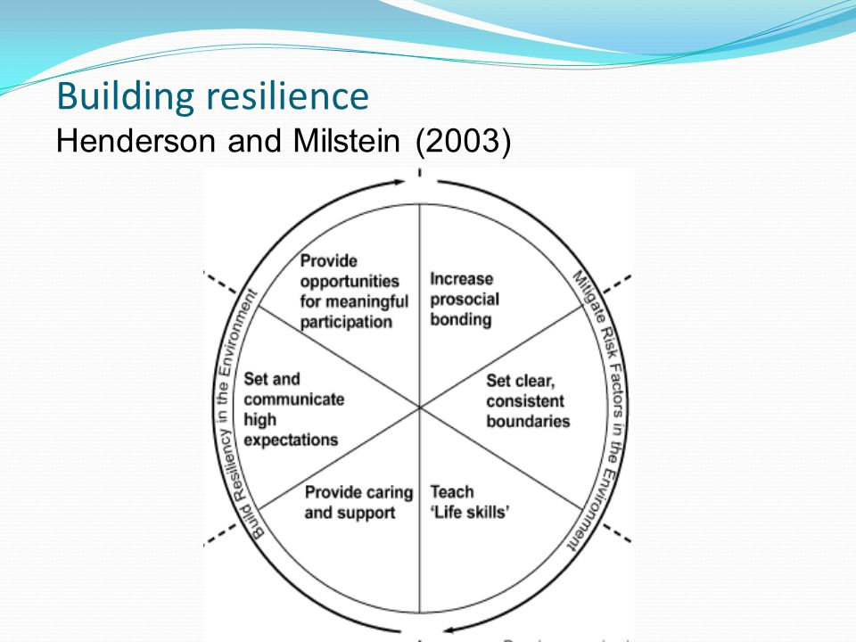 Building resilience Henderson and Milstein (2003)