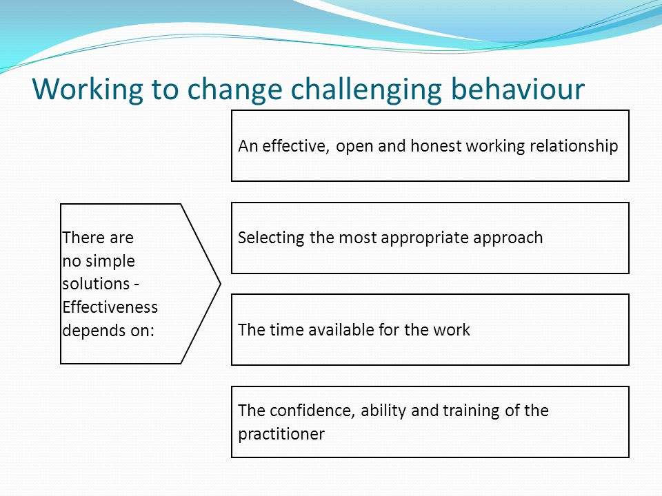 Working to change challenging behaviour