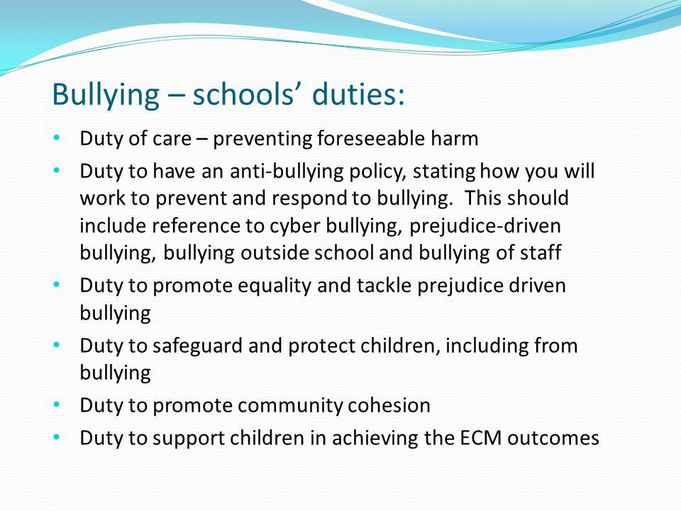 Bullying – schools' duties: