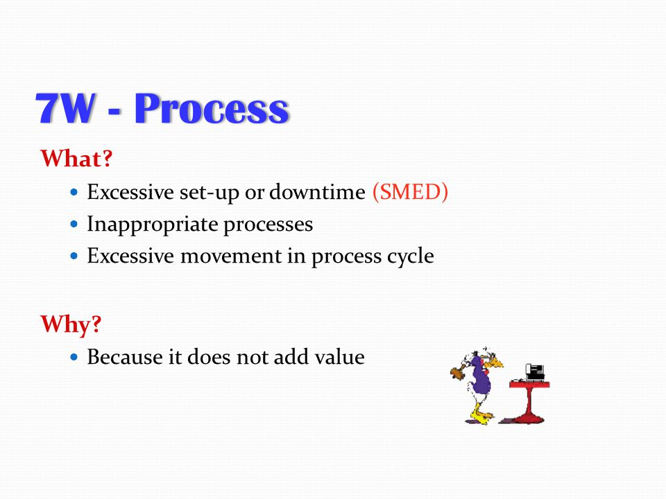 7W - Process What Why Excessive set-up or downtime (SMED)