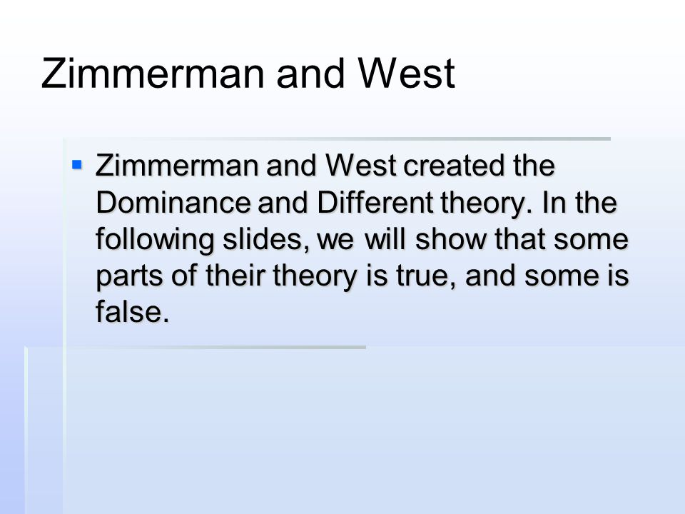 Zimmerman and West