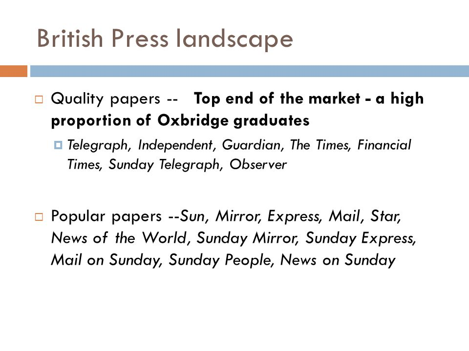 British Press landscape