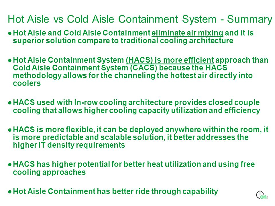 Hot Aisle vs Cold Aisle Containment System - Summary