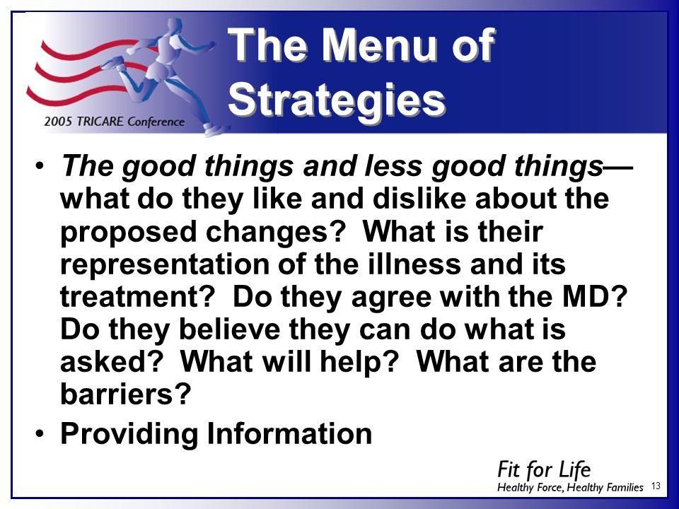 The Menu of Strategies