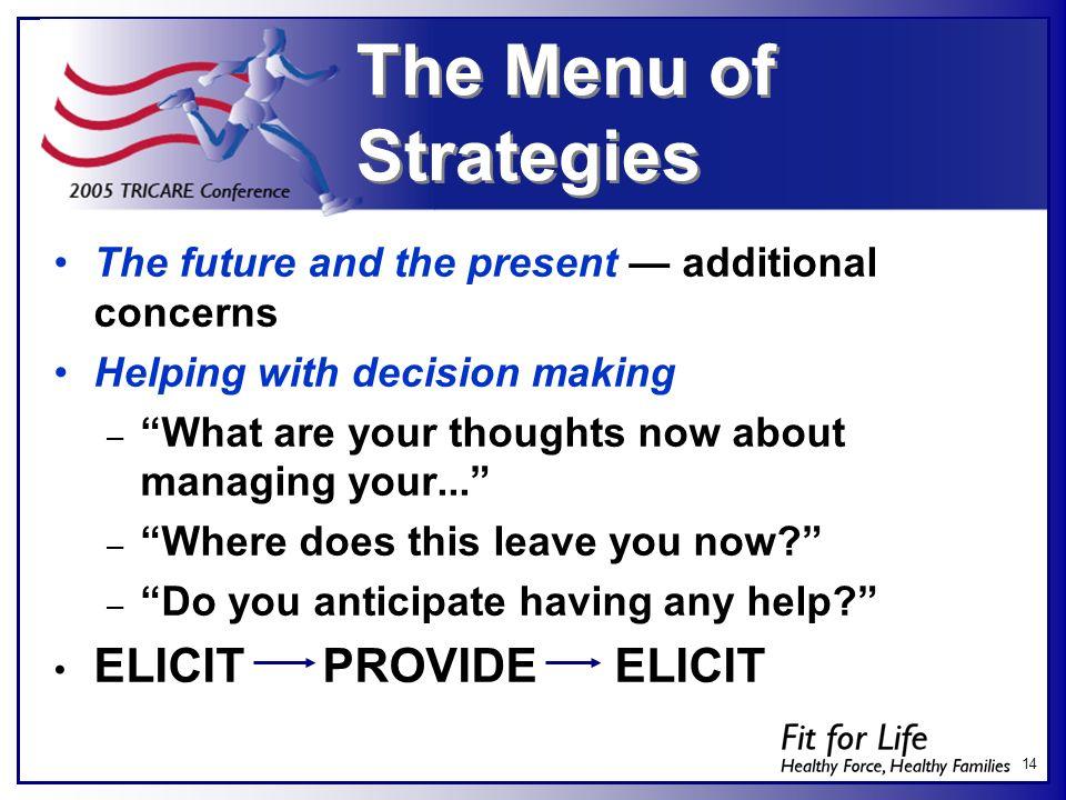 The Menu of Strategies ELICIT PROVIDE ELICIT