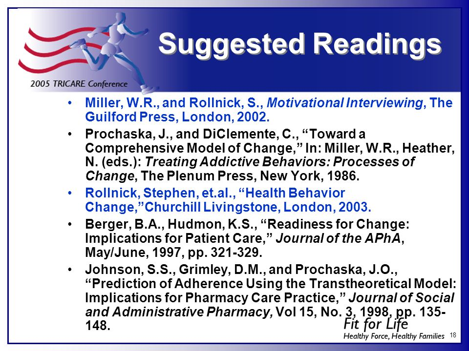 Suggested Readings Miller, W.R., and Rollnick, S., Motivational Interviewing, The Guilford Press, London, 2002.