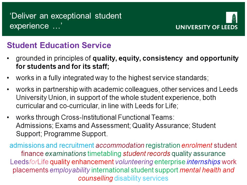 'Deliver an exceptional student experience …'