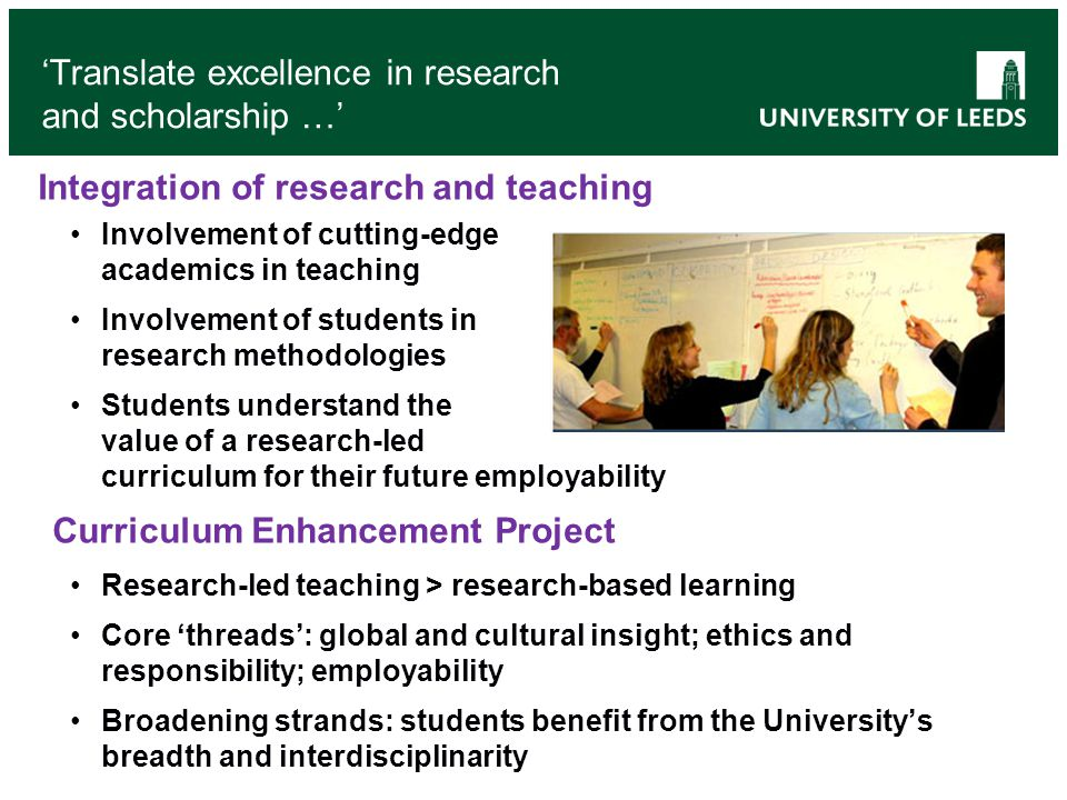 'Translate excellence in research and scholarship …'