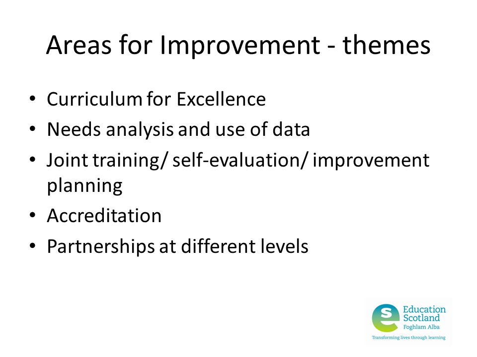 Areas for Improvement - themes