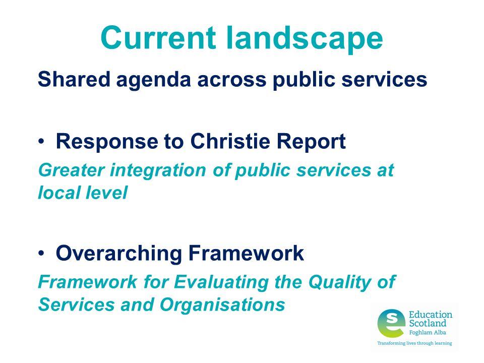 Current landscape Shared agenda across public services