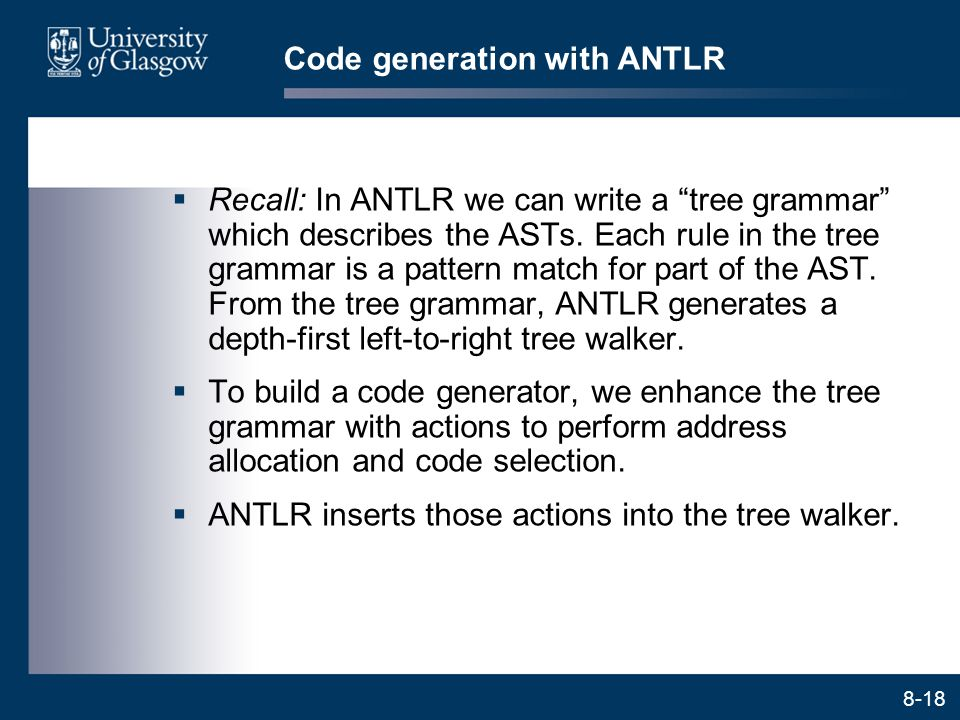 Code generation with ANTLR