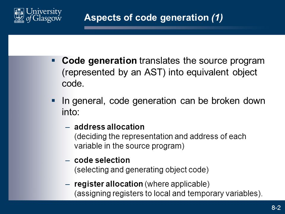 Aspects of code generation (1)