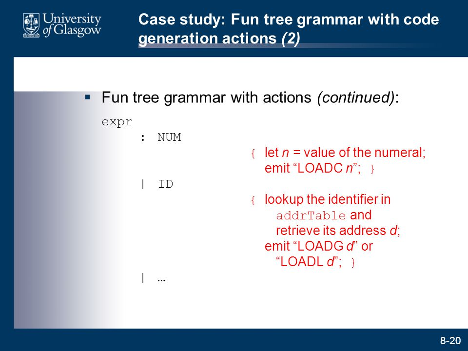 Case study: Fun tree grammar with code generation actions (2)