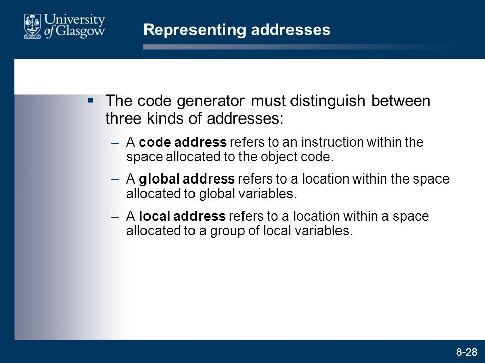 Representing addresses
