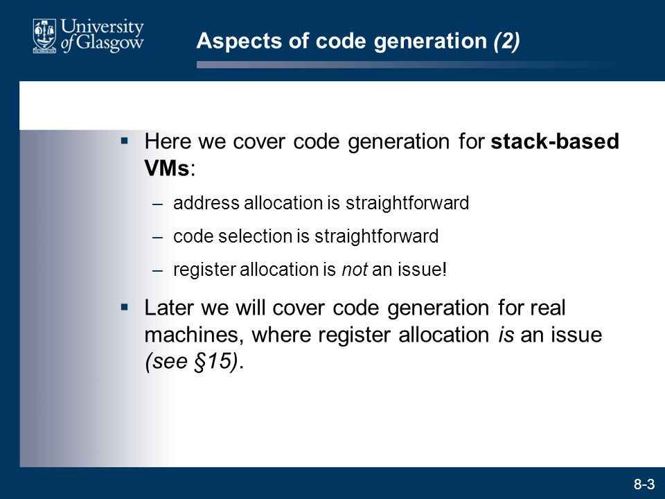 Aspects of code generation (2)
