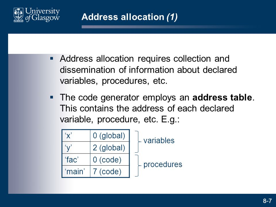 Address allocation (1) Address allocation requires collection and dissemination of information about declared variables, procedures, etc.