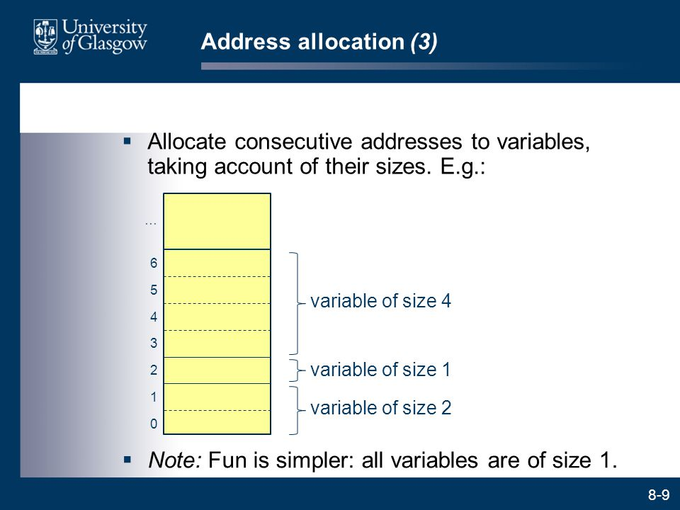 Note: Fun is simpler: all variables are of size 1.