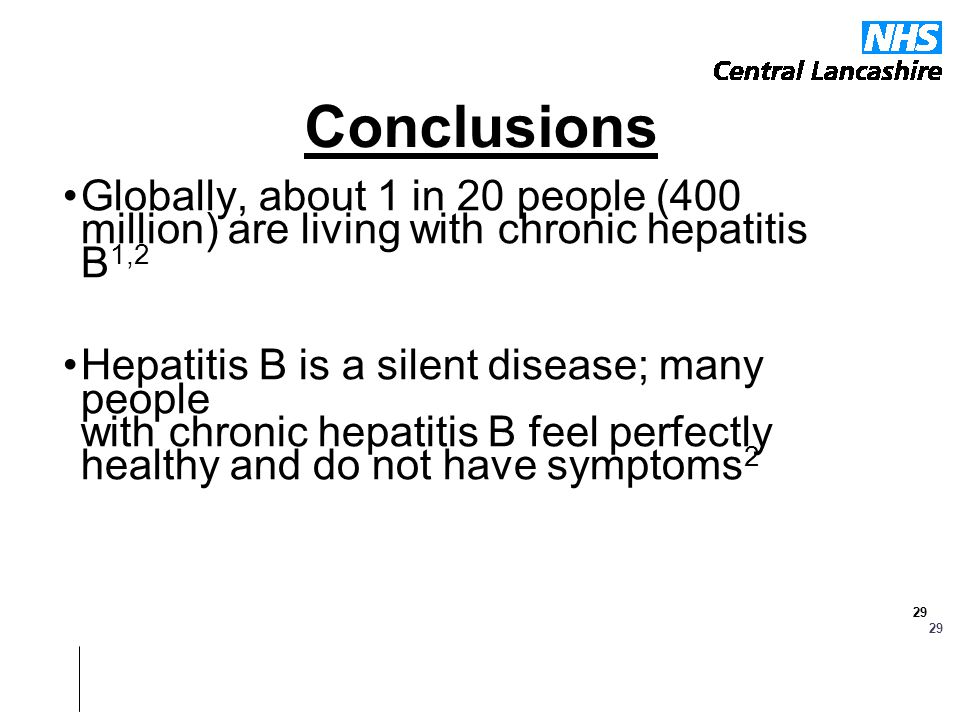 Conclusions Globally, about 1 in 20 people (400 million) are living with chronic hepatitis B1,2.