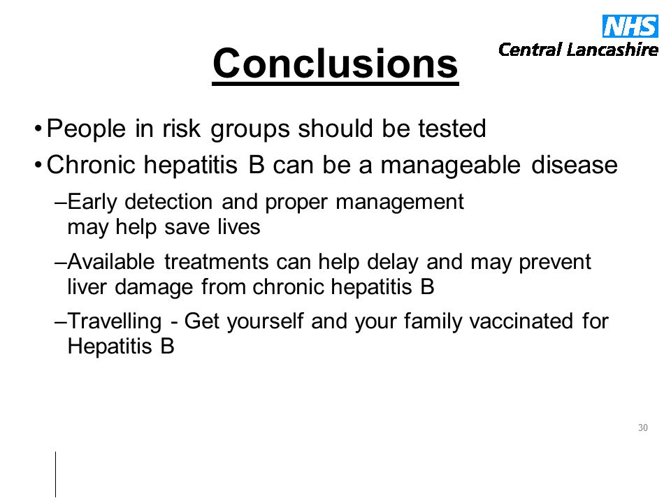 Conclusions People in risk groups should be tested