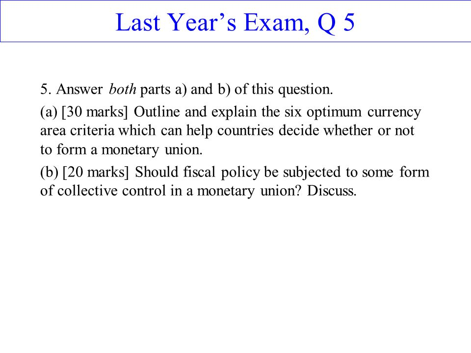 Last Year's Exam, Q 5 5. Answer both parts a) and b) of this question.