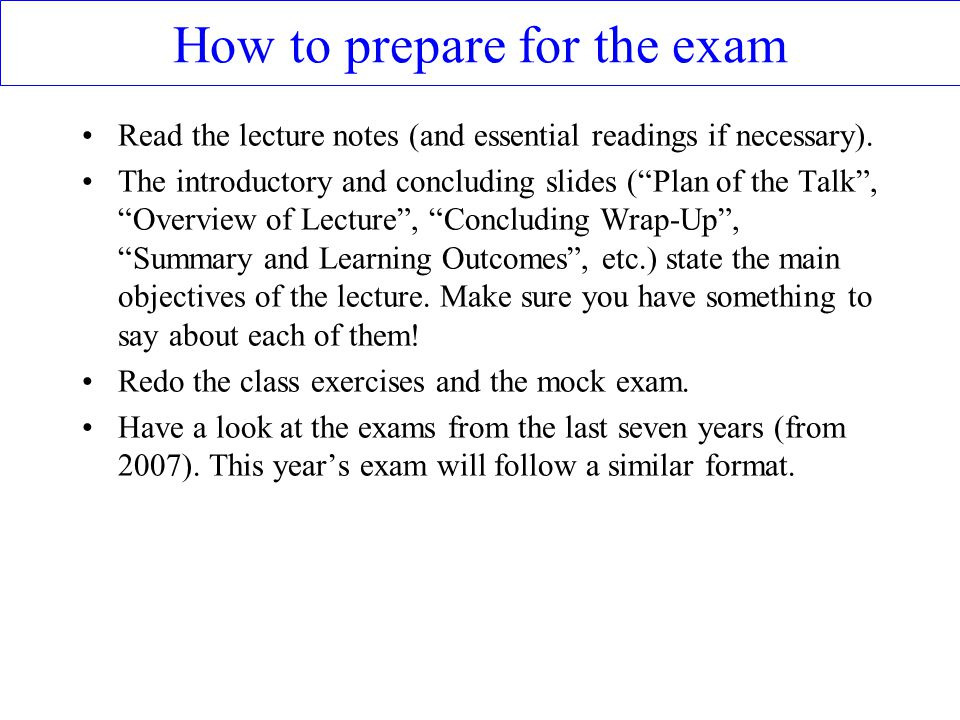 How to prepare for the exam