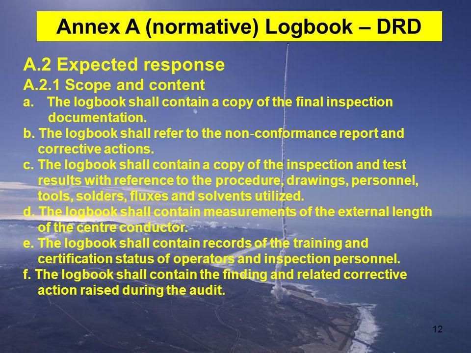 Annex A (normative) Logbook – DRD