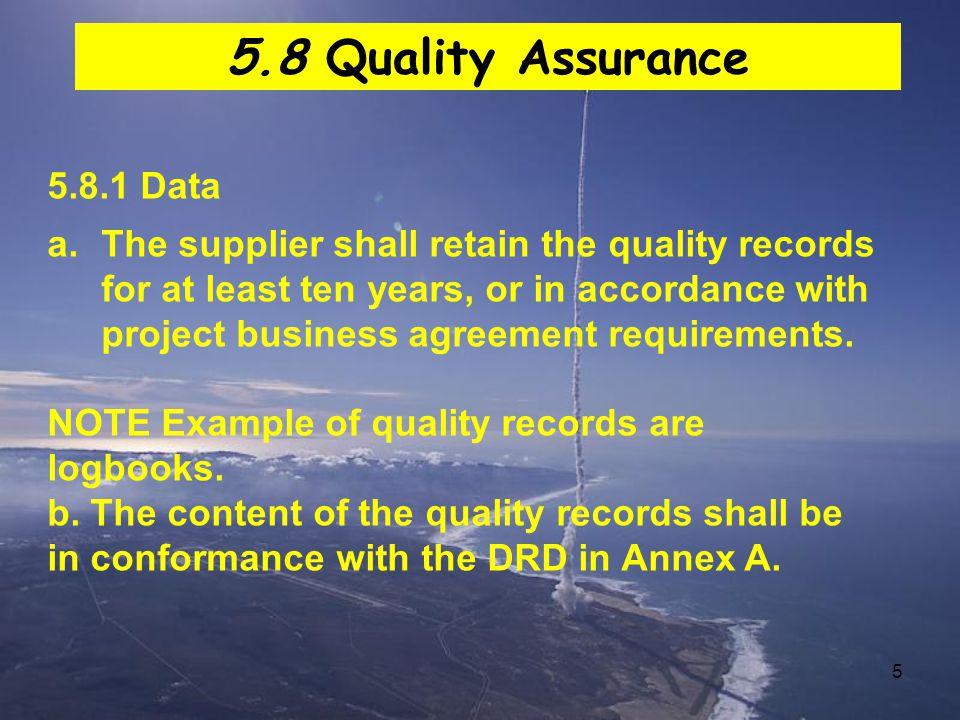 5.8 Quality Assurance 5.8.1 Data