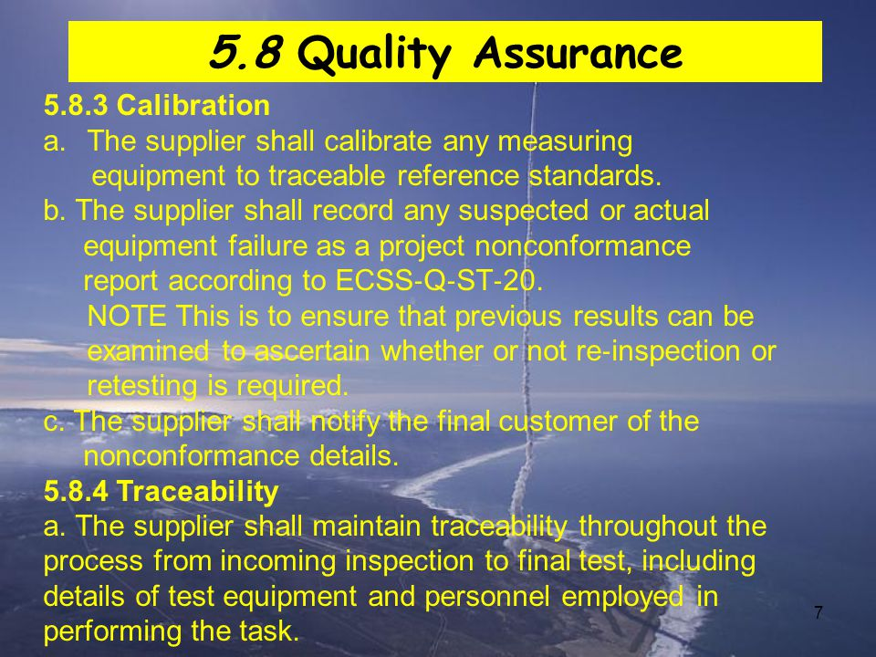 5.8 Quality Assurance 5.8.3 Calibration
