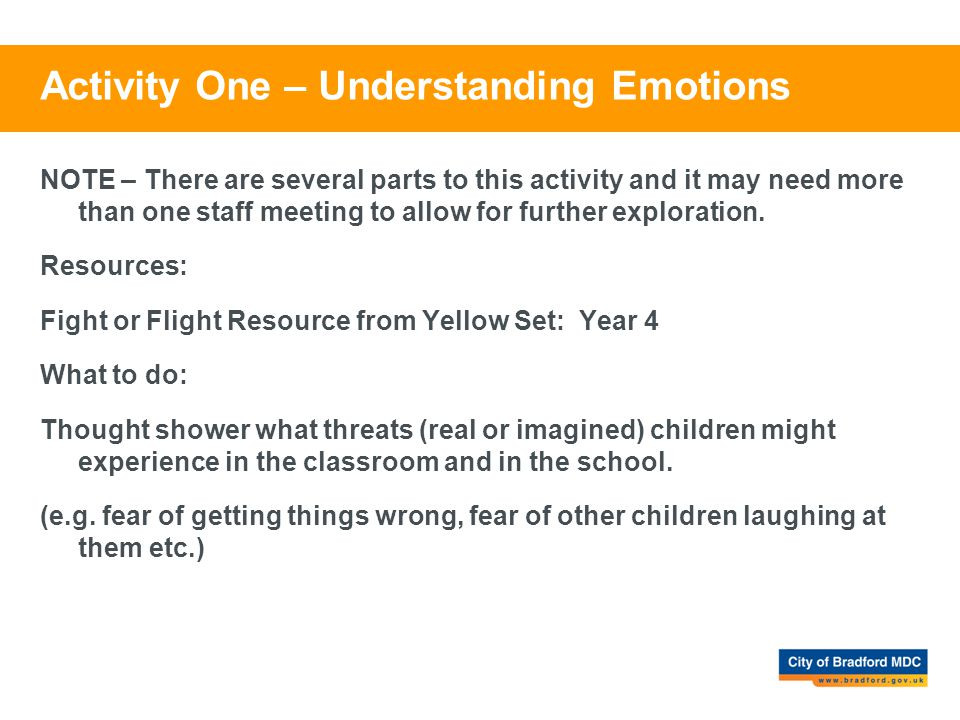 Activity One – Understanding Emotions