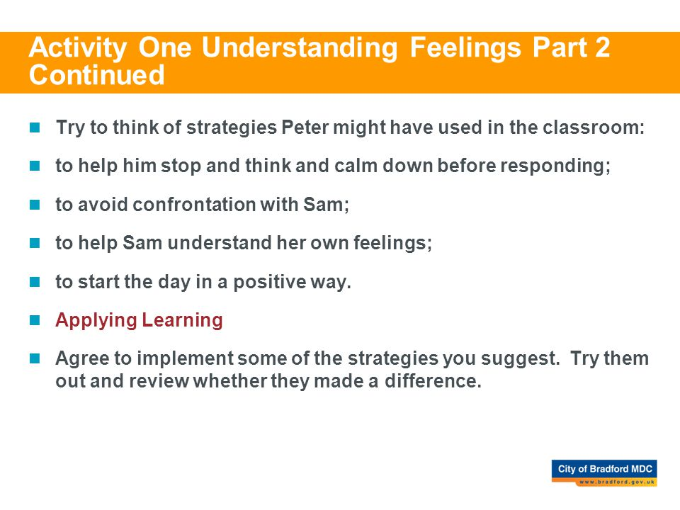 Activity One Understanding Feelings Part 2 Continued