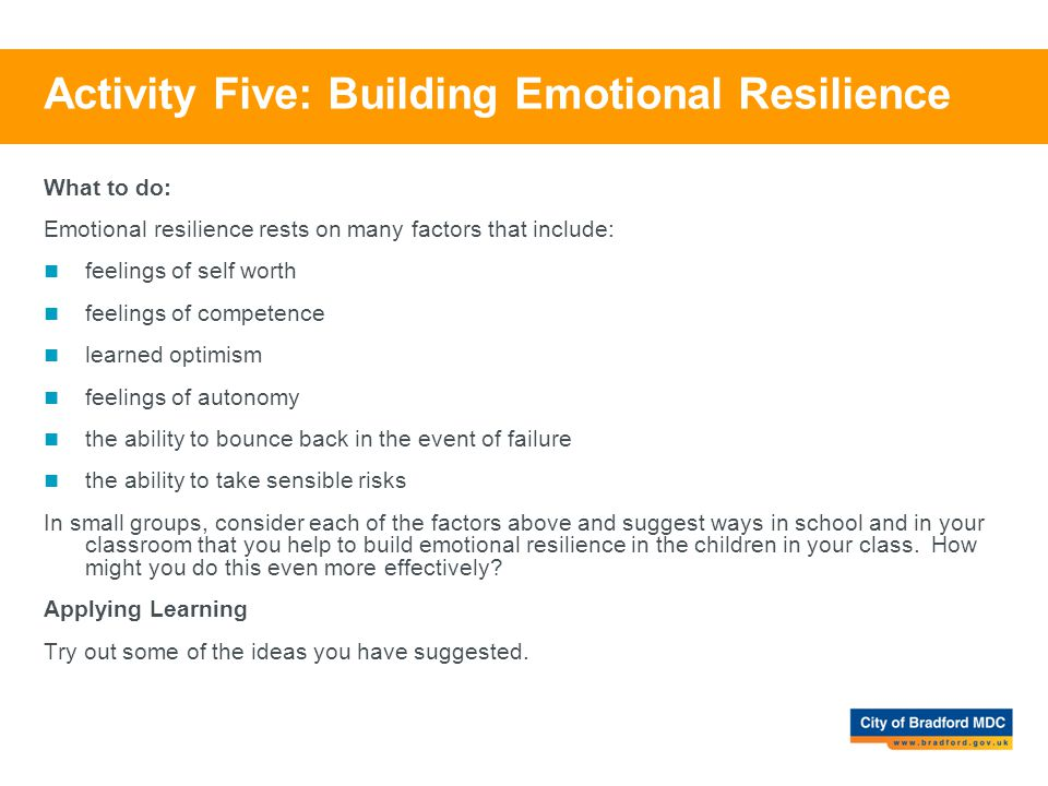 Activity Five: Building Emotional Resilience