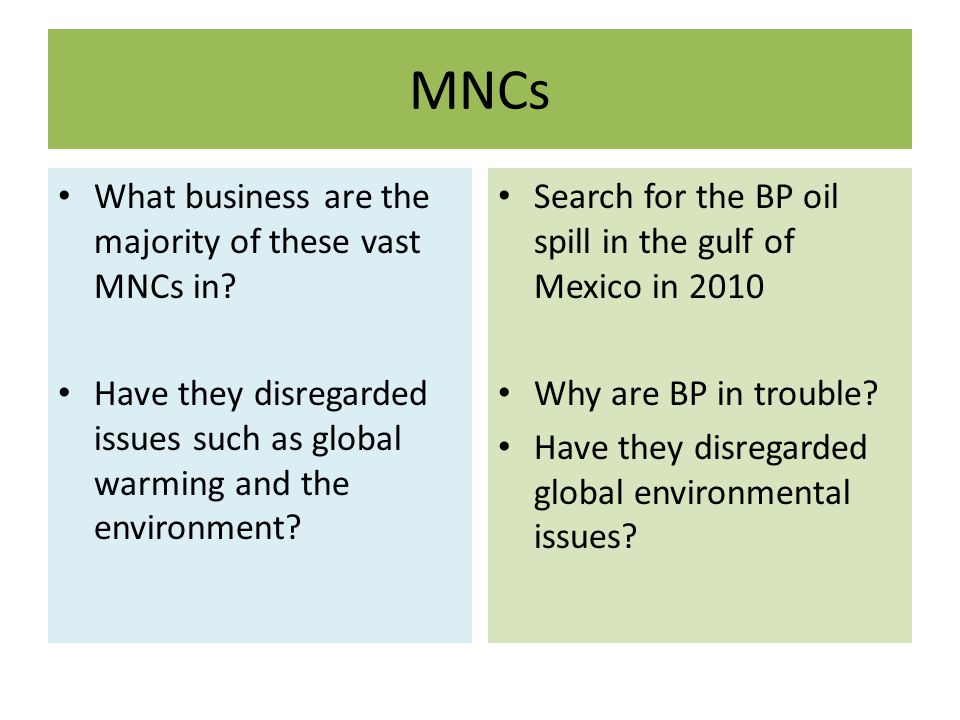 MNCs What business are the majority of these vast MNCs in