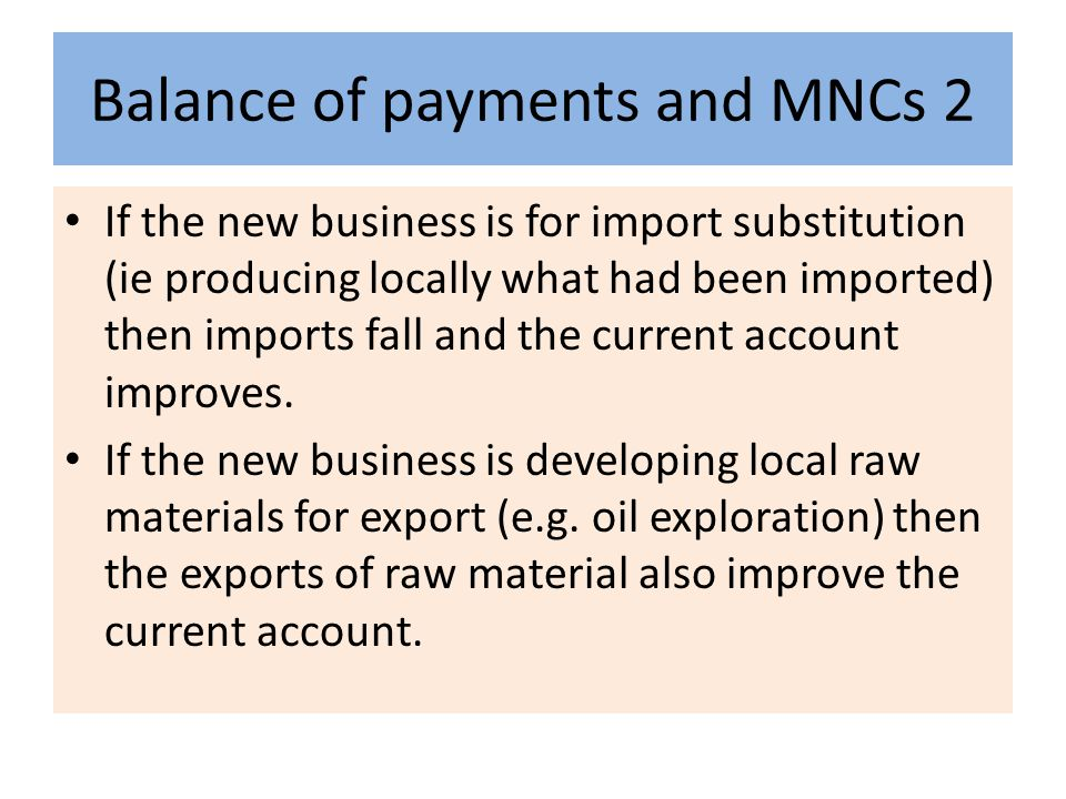 Balance of payments and MNCs 2