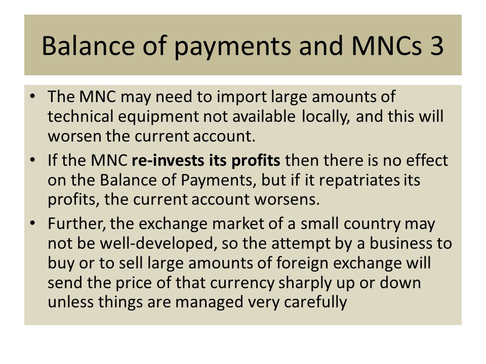 Balance of payments and MNCs 3