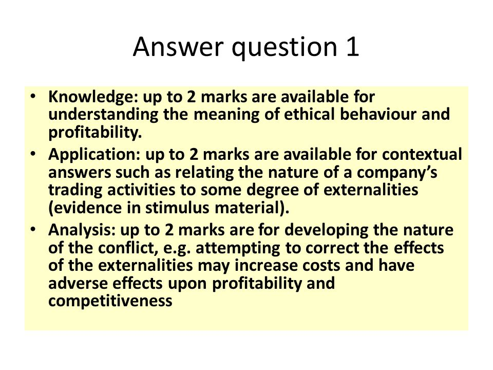 Answer question 1 Knowledge: up to 2 marks are available for understanding the meaning of ethical behaviour and profitability.