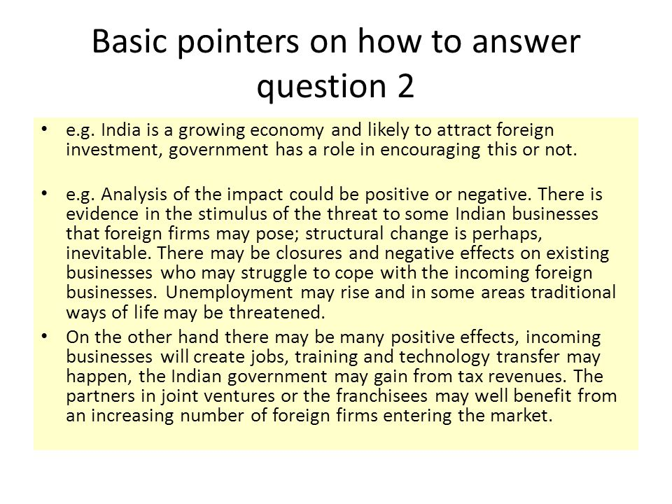 Basic pointers on how to answer question 2