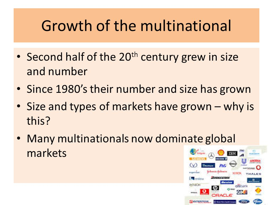 Growth of the multinational