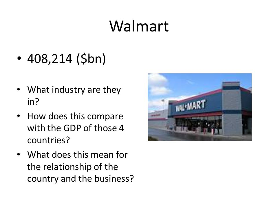 Walmart 408,214 ($bn) What industry are they in