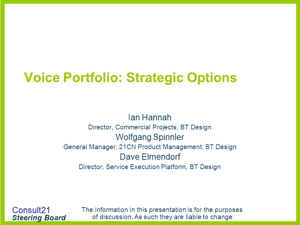 Voice Portfolio: Strategic Options
