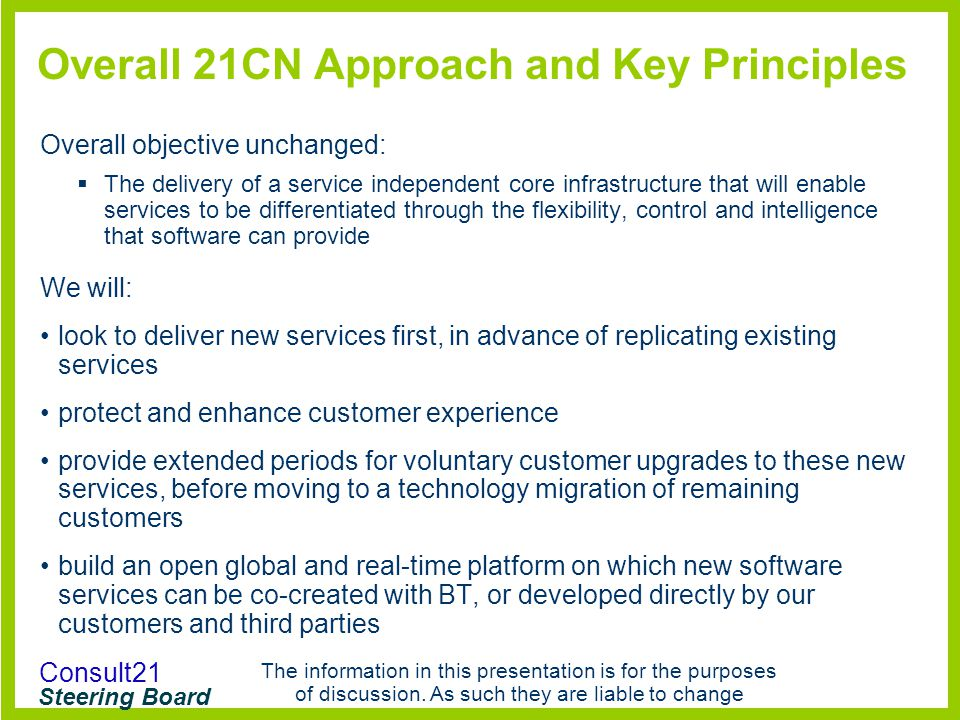 Overall 21CN Approach and Key Principles
