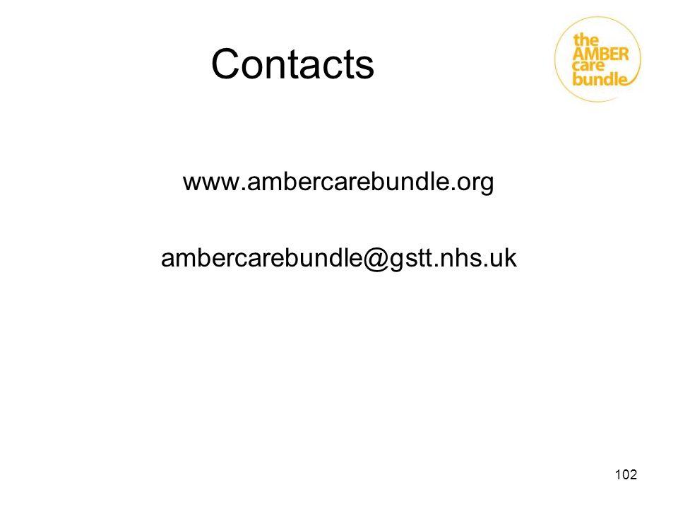 Contacts www.ambercarebundle.org ambercarebundle@gstt.nhs.uk