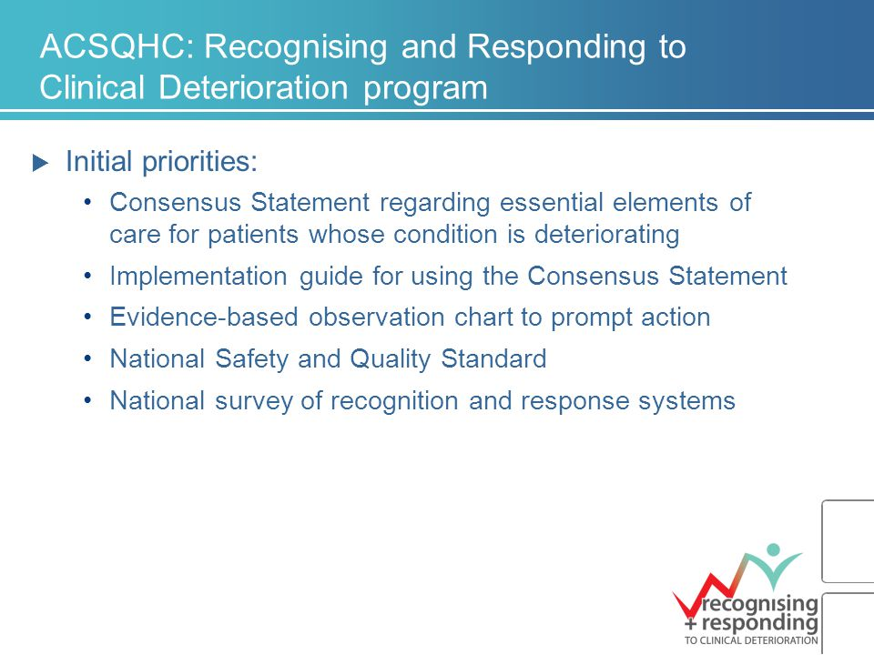 ACSQHC: Recognising and Responding to Clinical Deterioration program