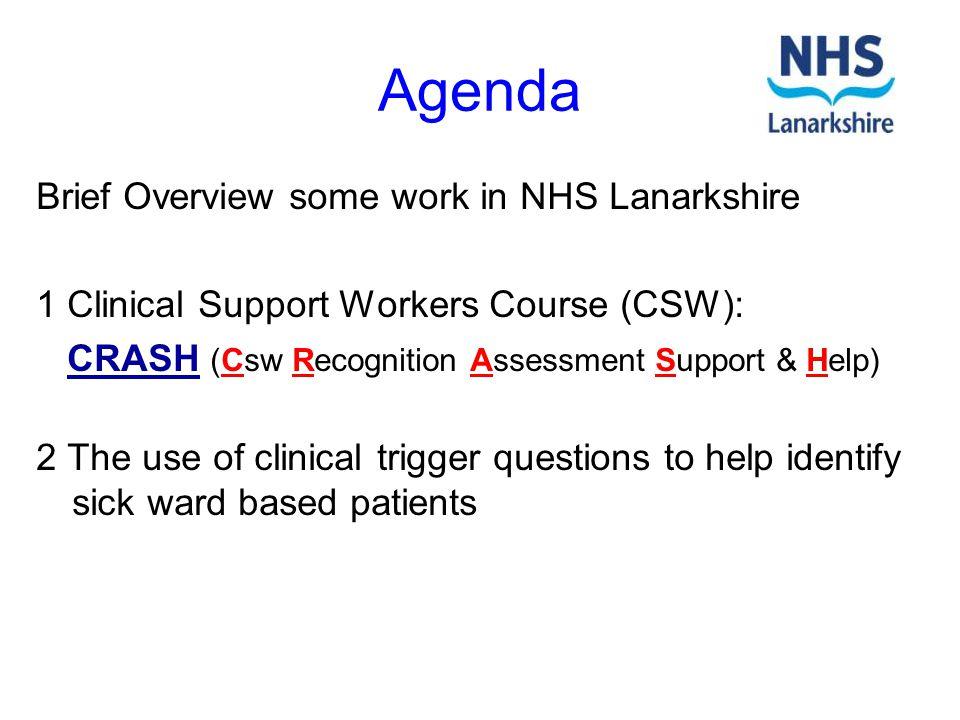 Agenda Brief Overview some work in NHS Lanarkshire