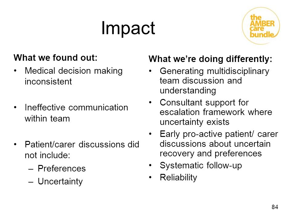 Impact What we found out: Medical decision making inconsistent