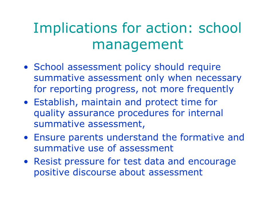 Implications for action: school management